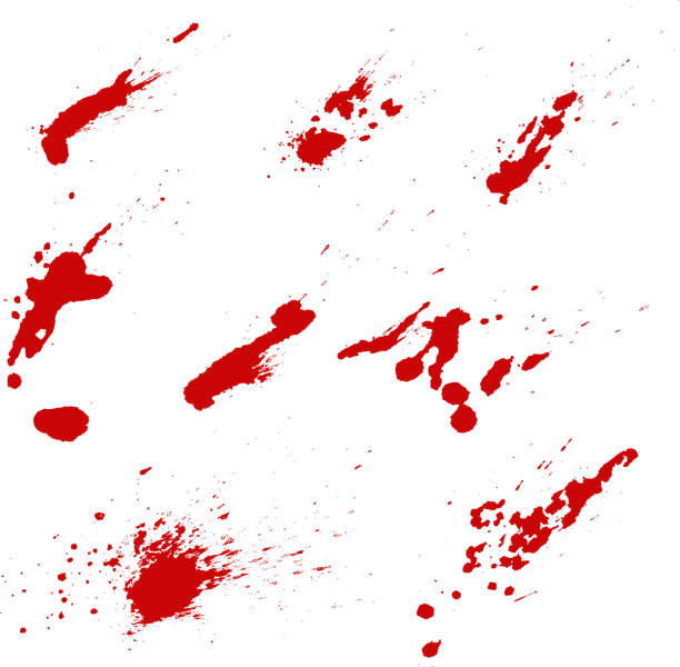 Set of blood splashes isolated on white background. Vector design element vector art illustration