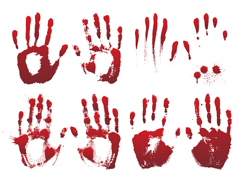 Set of bloody red horror hand prints.