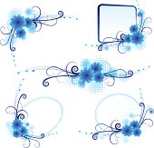 Vector illustration set of blue abstract frame with flower