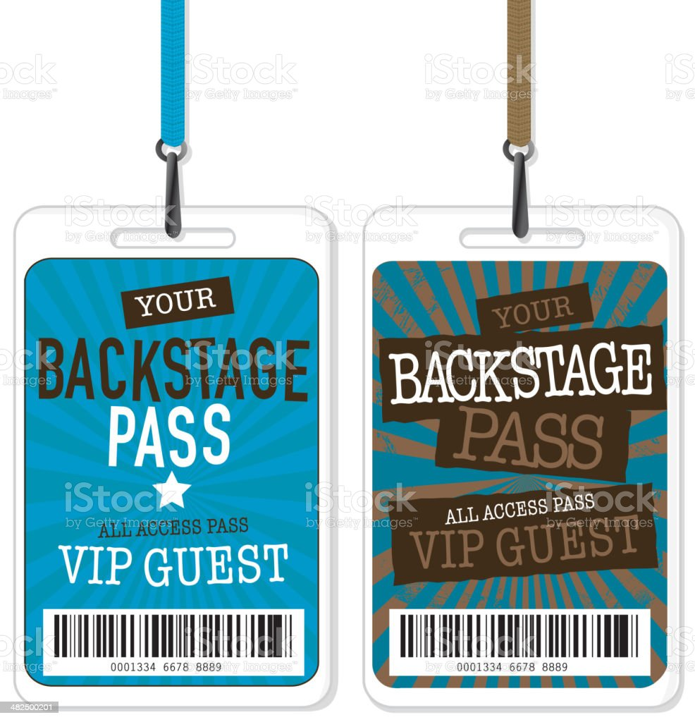 Set Of Blue And Brown Backstage Pass Template Designs Royalty Free Set Of  Blue And  Free Vip Pass Template
