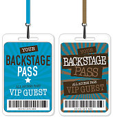 Vector illustration of a two Backstage Pass designs. Includes sample text design and design elements.