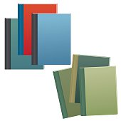 Set of blue and brown text books with hard covers
