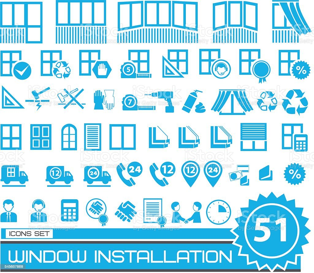 set of blue and gray repair icons vector art illustration