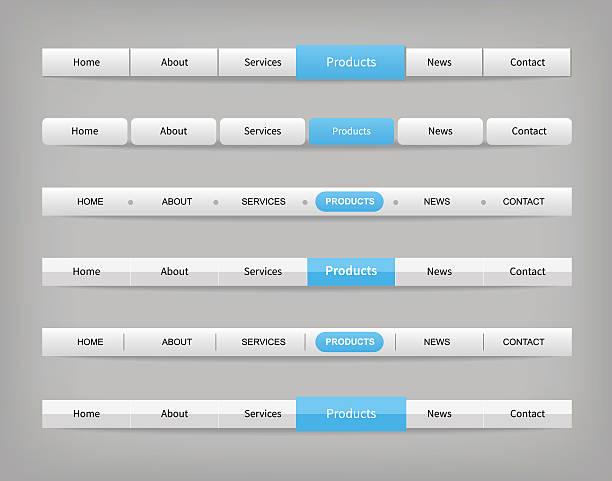 satz von blauen und grauen verschiedenen navigationsleiste-vorlagen - karte navigationsinstrument stock-grafiken, -clipart, -cartoons und -symbole