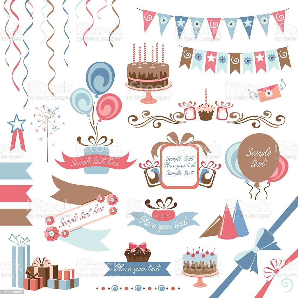 Set of blue and pink party themed illustrations royalty-free set of blue and pink party themed illustrations stock vector art & more images of balloon