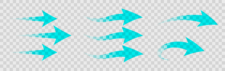 Set of blue arrow showing air flow isolated on transparent background - stock vector