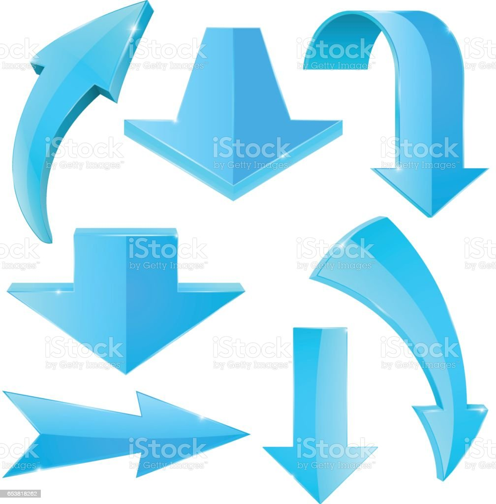 Set of blue arrow vector art illustration
