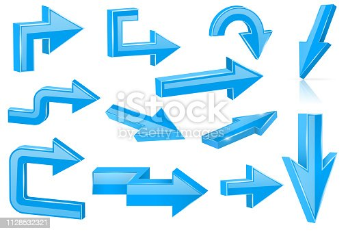 Set of blue arrows. Shiny 3d web icons. Vector illustration isolated on white background