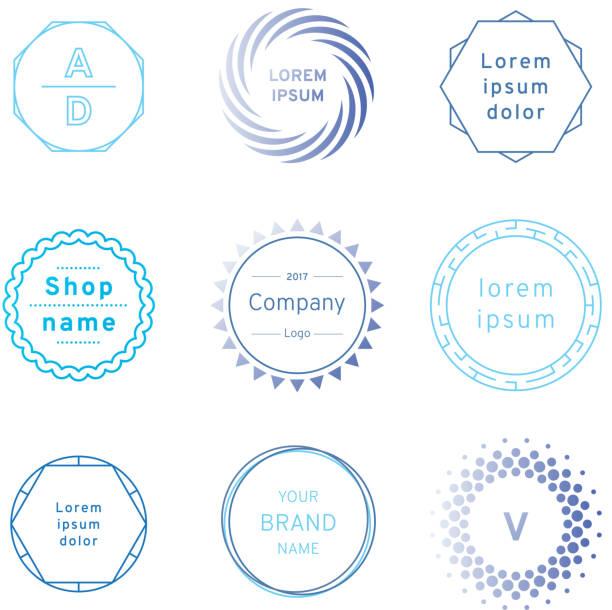 satz von blauen abzeichen und label-logo-grafiken. design-elemente, firmenschilder, beschriftungen, logos - siegelstempel stock-grafiken, -clipart, -cartoons und -symbole