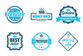 Set of 6 Blue badges and labels, isolated on white background (The Creative Design, Money Back - 100% Guaranteed, Genuine - Guaranteed, Best Seller, Premium - Guaranteed Quality, The Special Offer). Elements for your design, with space for your text. Vector Illustration (EPS10, well layered and grouped). Easy to edit, manipulate, resize or colorize. Please do not hesitate to contact me if you have any questions, or need to customise the illustration. http://www.istockphoto.com/portfolio/bgblue