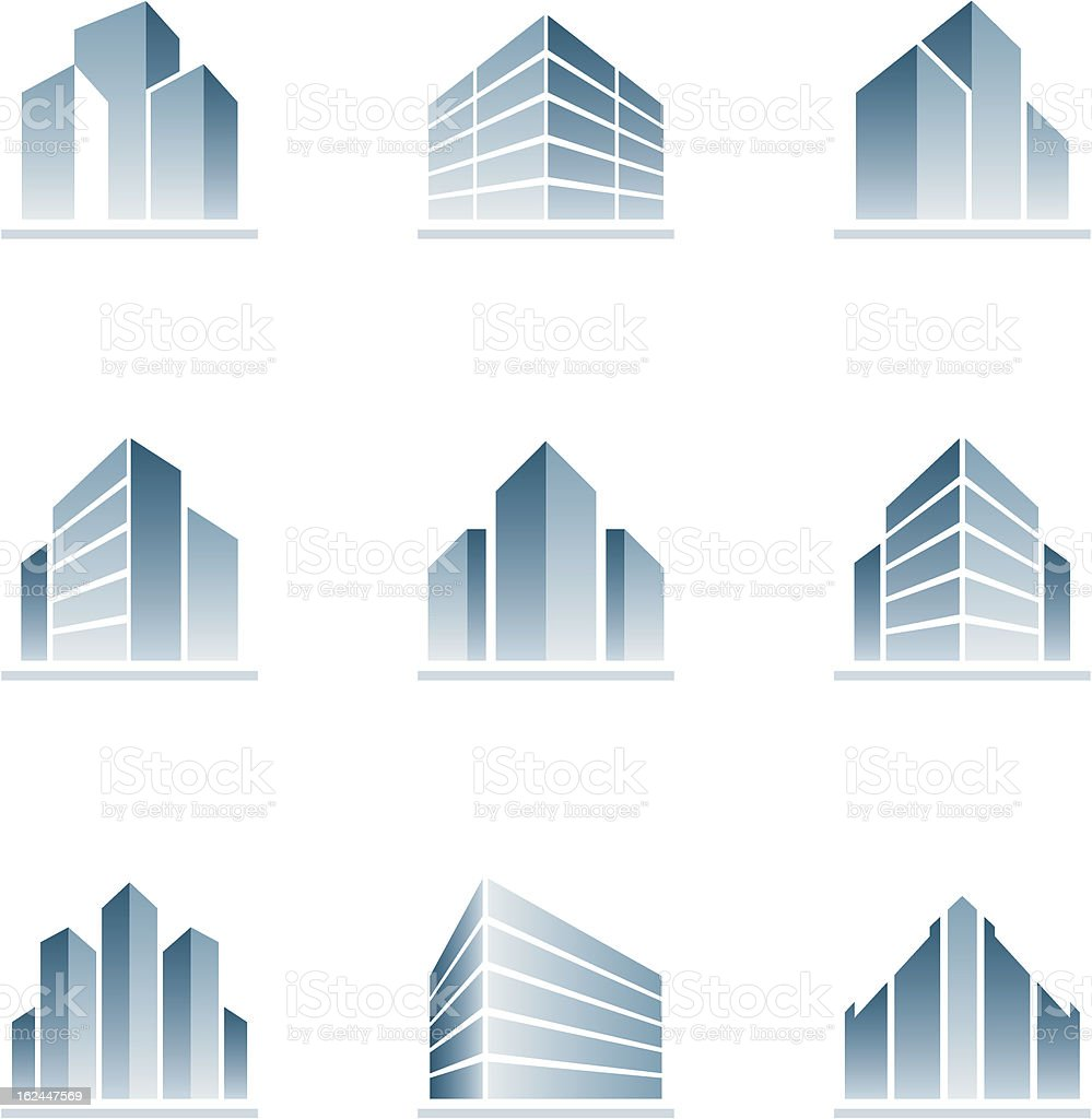 Set of blue building icons vector art illustration
