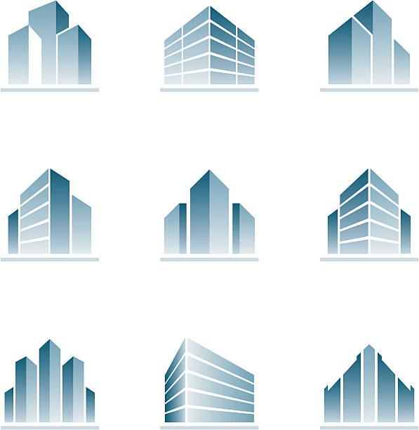 set of blue building icons - architecture silhouettes stock illustrations
