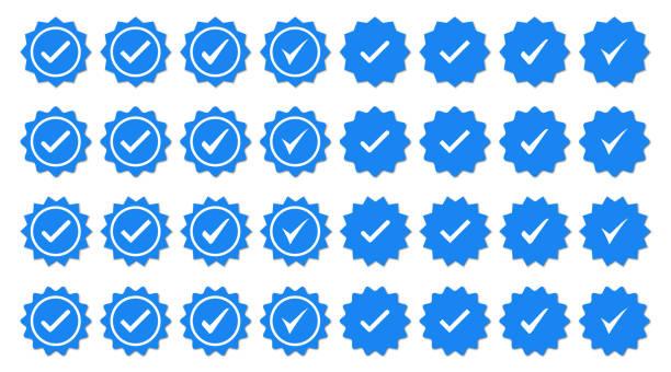 zestaw niebieskich ikon znaczników wyboru. ikony weryfikacji profilu - pieczęć znaczek stock illustrations