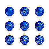 Set of blue Christmas balls with golden pattern