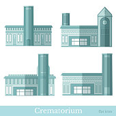 Set of blue colored flat funeral services buildings of crematorium different style vector illustration