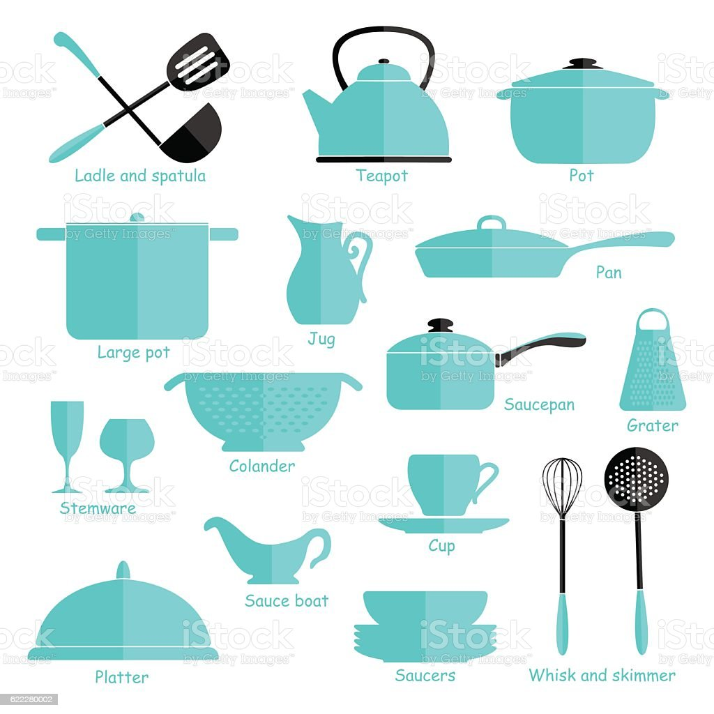 Set Of Blue Cookware Isolated On White Background Kitchen Utensils ...