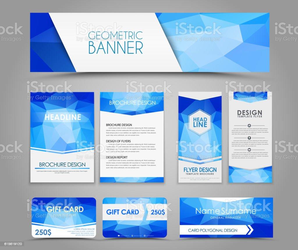 Set of blue corporate style polygonal – Vektorgrafik