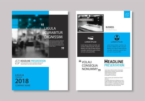 set of blue cover and layout brochure, flyer, poster, annual report, design templates. use for business book, magazine, presentation, portfolio, corporate background. - jeden przedmiot stock illustrations