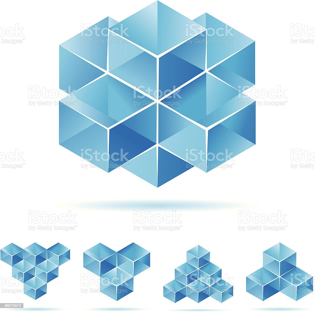 Set of blue cube design elements royalty-free set of blue cube design elements stock vector art & more images of abstract