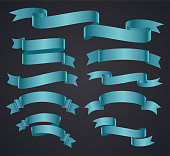 Set of blue curved ribbon or banner on gray background. Banners for christmas, wedding, birthday, new year, Easter