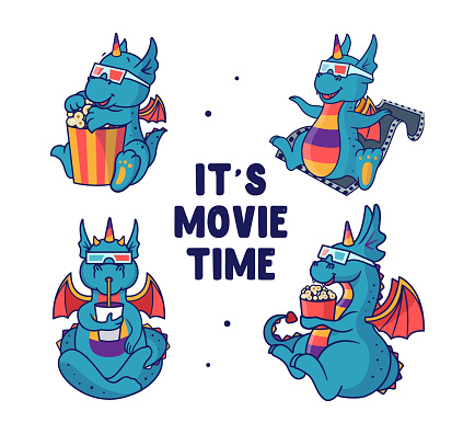 Set of blue dragons who are watching a film and eating