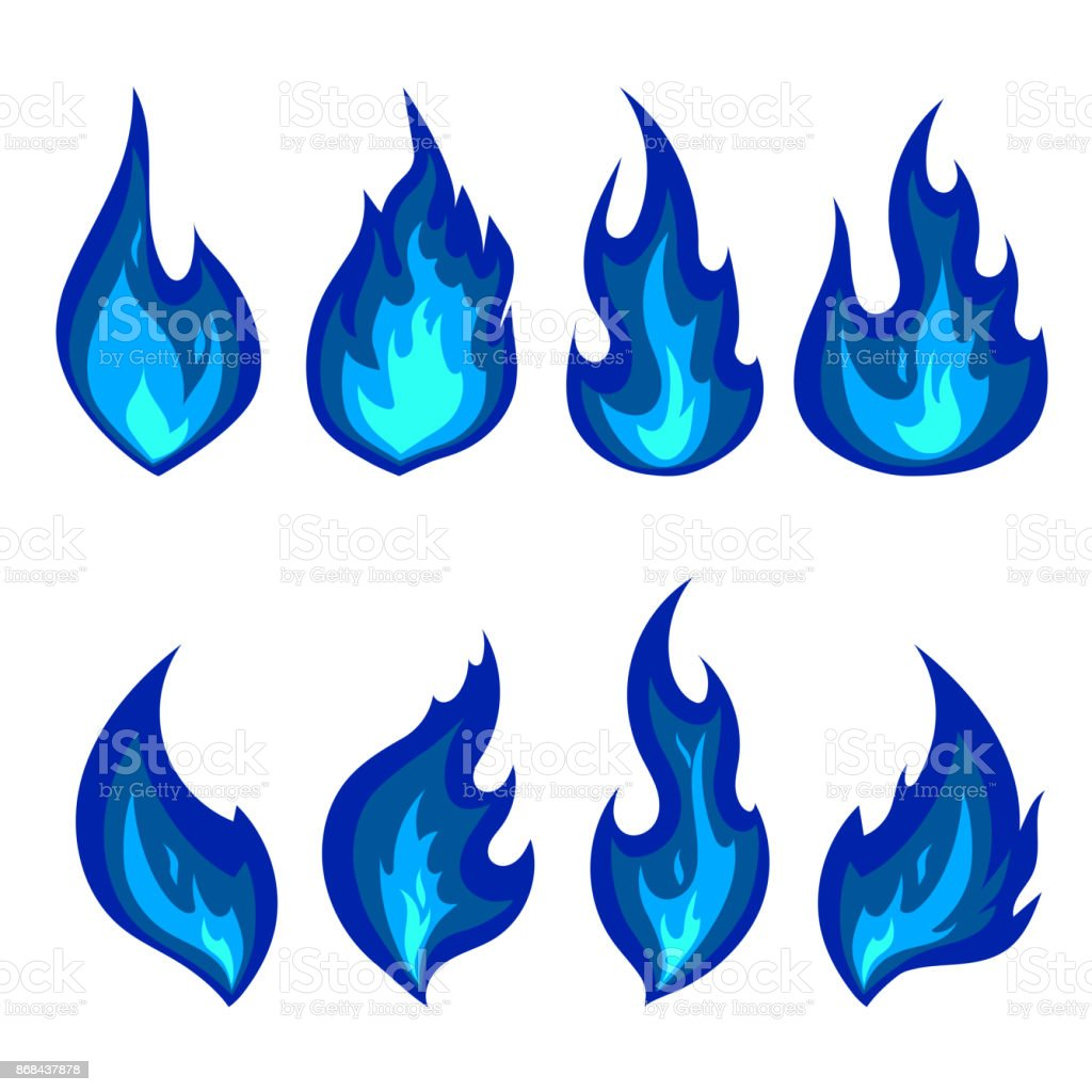 Set of blue fire icons. Flames vector vector art illustration