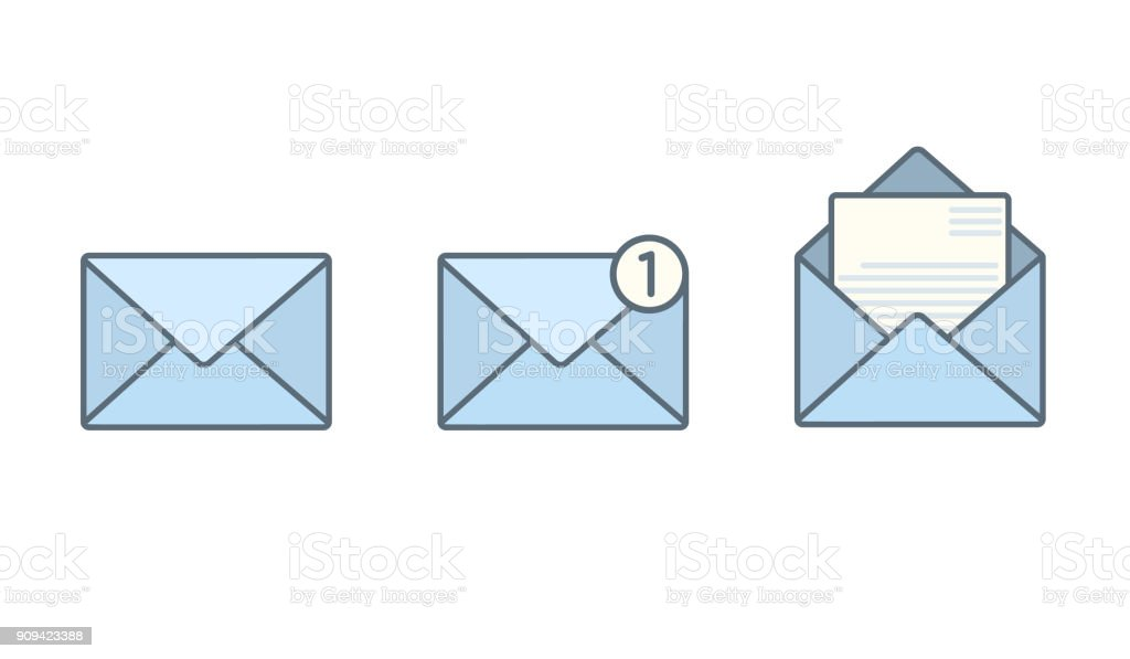 Set of blue flat envelopes with receive message