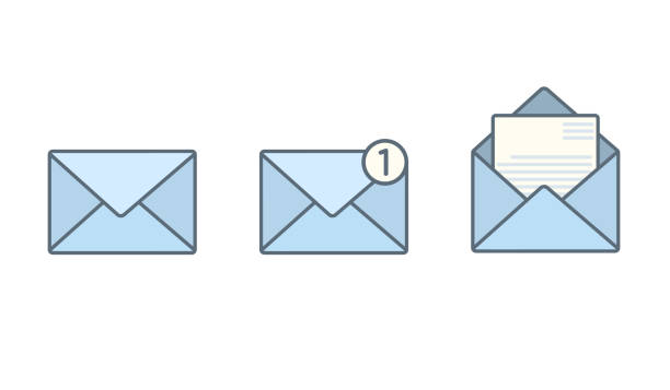 set of blue flat envelopes with receive message - email icon stock illustrations, clip art, cartoons, & icons