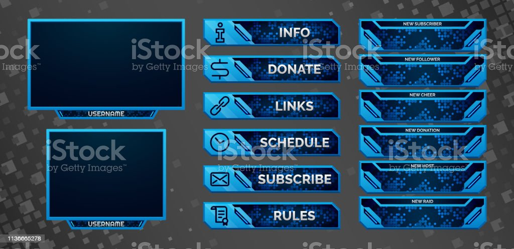 Set Of Blue Gaming Panels And Overlays For Cybersport Streamers