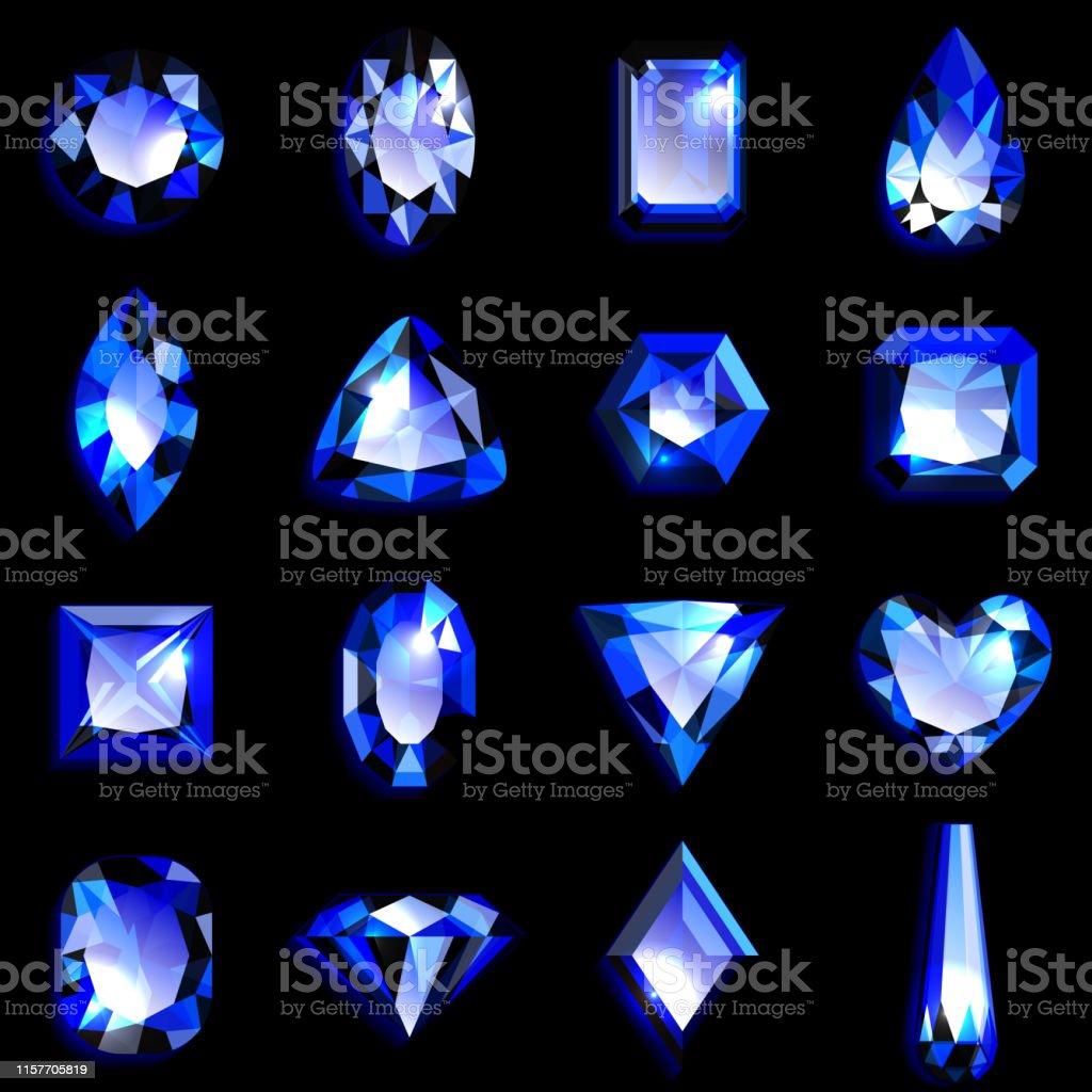 4cdb020f7410 Ilustración de Conjunto De Piedras Preciosas Azules De Varias Formas ...