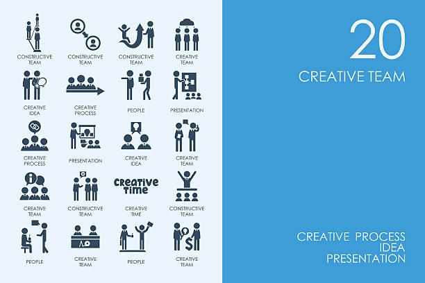 set of blue hamster library creative team icons - иллюстрации на тему архитектура stock illustrations