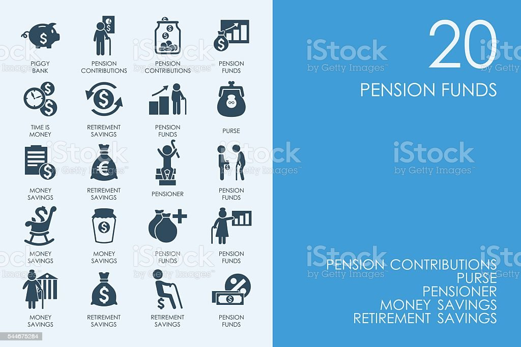 Set of BLUE HAMSTER Library pension funds icons vector art illustration