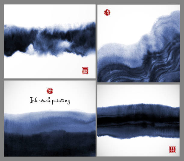 set of blue ink wash painting textures on white background. vector illustration. contains hieroglyphs - double luck, clarity. - чернила stock illustrations