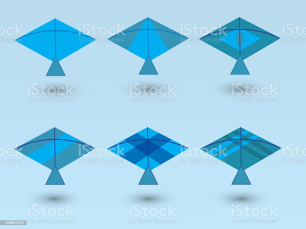 A Set Of Blue Kites For Children Play With Different Designs Stock