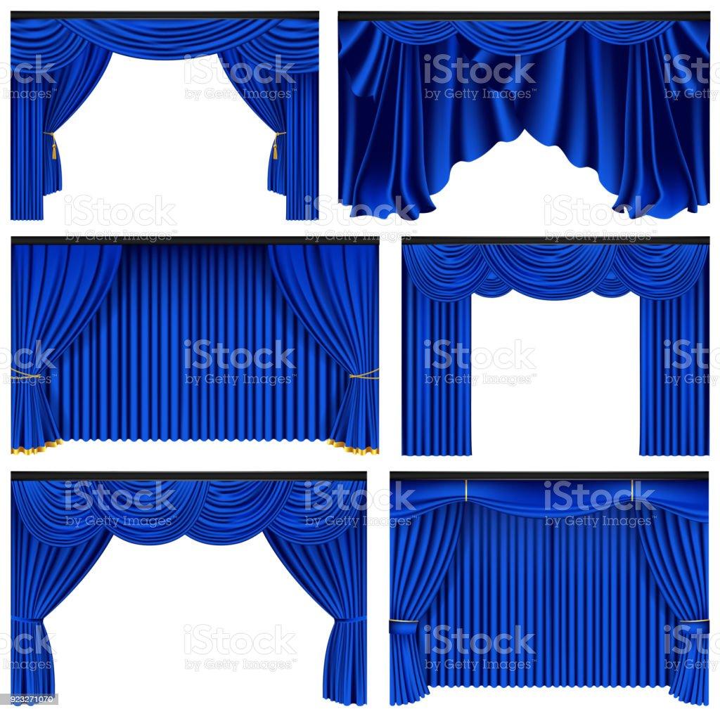 Set Blauw Luxe Gordijnen En Draperieën Op Witte Achtergrond ...