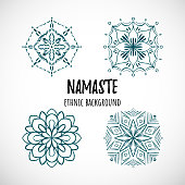 Set of blue mandala icon with text, vector ethnic doodle design.