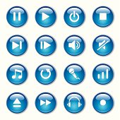 Set of blue music and media icons in circular buttons
