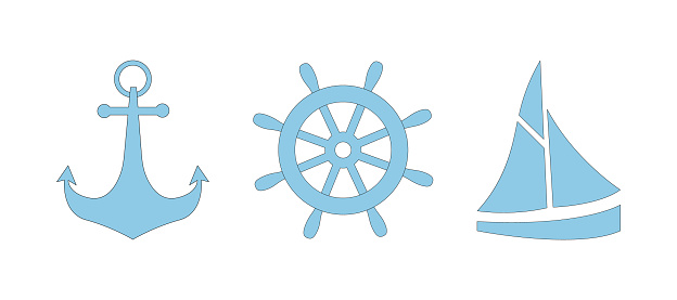 Set of blue nautical icons with black outline anchor, steering wheel and boat. Sailboat, helm and anchor, three elements
