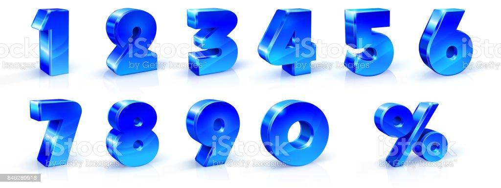 Set of blue numbers 1, 2, 3, 4, 5, 6, 7, 8, 9, 0 and percent sign. 3d illustration. Suitable for use on advertising banners, posters flyers promotional items Seasonal discounts Black Friday the interest rate