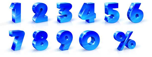 파란색의 집합 번호 1, 2, 3, 4, 5, 6, 7, 8, 9, 0 및 % 기호. 3d 그림입니다. 배너 광고에 사용 하기에 적합, 포스터 전단지 판촉 상품 계절 할인 검은 금요일 이자율 - 금융 수치 stock illustrations