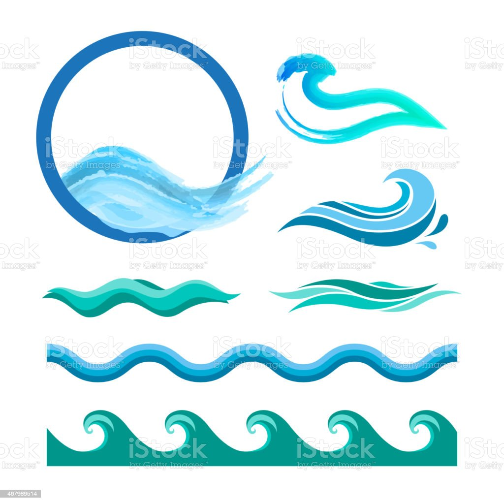 Set of blue ocean waves vector art illustration