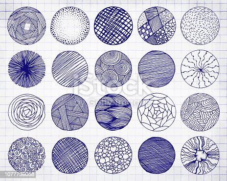Set of Sketched Handwritten Blue Pencil Doodle Borders or Circles. Vector Illustration of Hand Drawn Scribble Circle Frames on Notebook Sheet