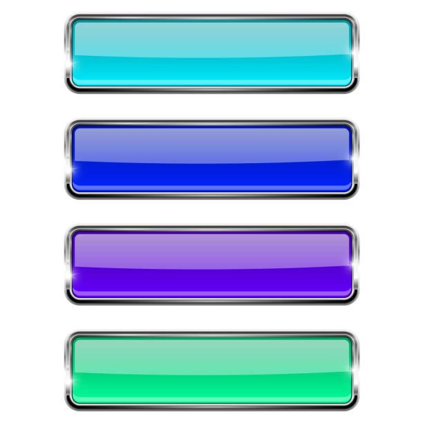 Conjunto de botones de vidrio rectangular azul con estructura de metal - ilustración de arte vectorial