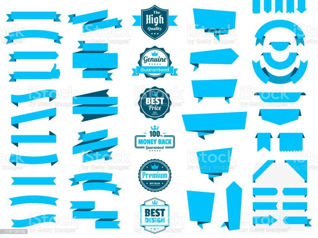 Set Of Blue Ribbons Banners Badges Labels Design Elements On