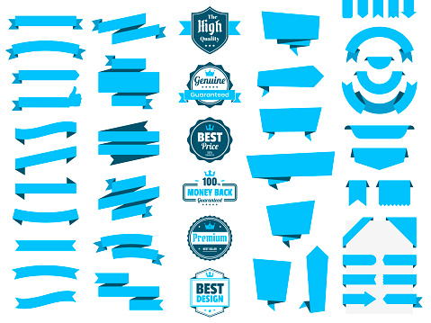 Set of Blue Ribbons, Banners, badges, Labels - Design Elements on white background