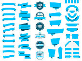 Set of Blue ribbons, banners, badges and labels, isolated on a blank background. Elements for your design, with space for your text. Vector Illustration (EPS10, well layered and grouped). Easy to edit, manipulate, resize or colorize. Please do not hesitate to contact me if you have any questions, or need to customise the illustration. http://www.istockphoto.com/portfolio/bgblue