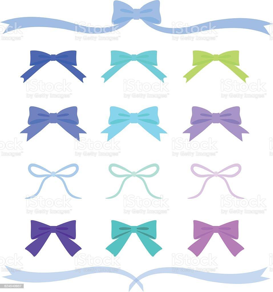 Set of blue ribbons vector art illustration