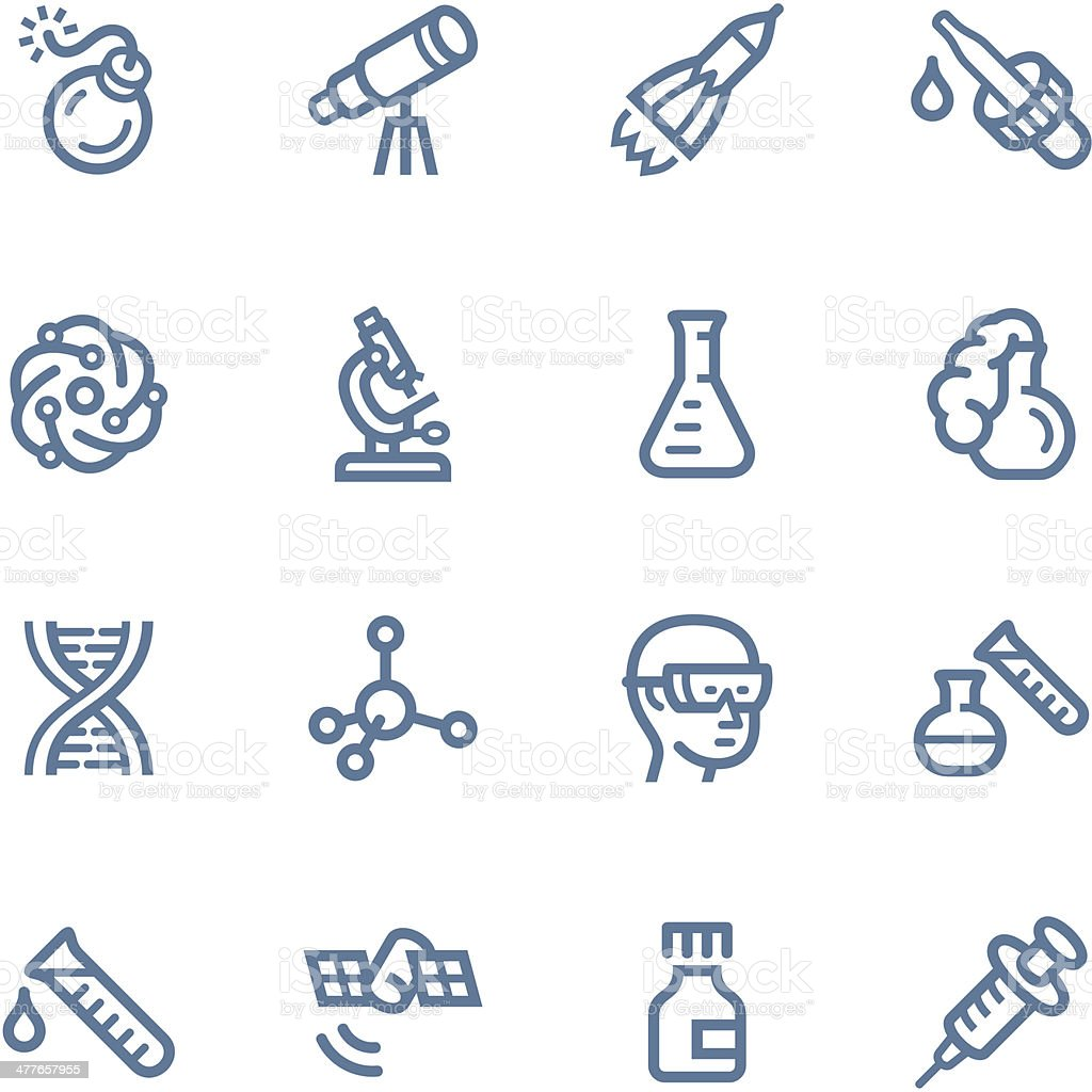 Set of blue science-related icons vector art illustration