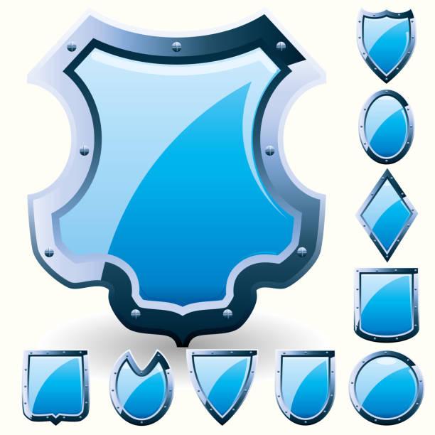 Set of Blue shields vector art illustration