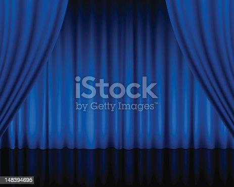 Close view of a blue curtain.